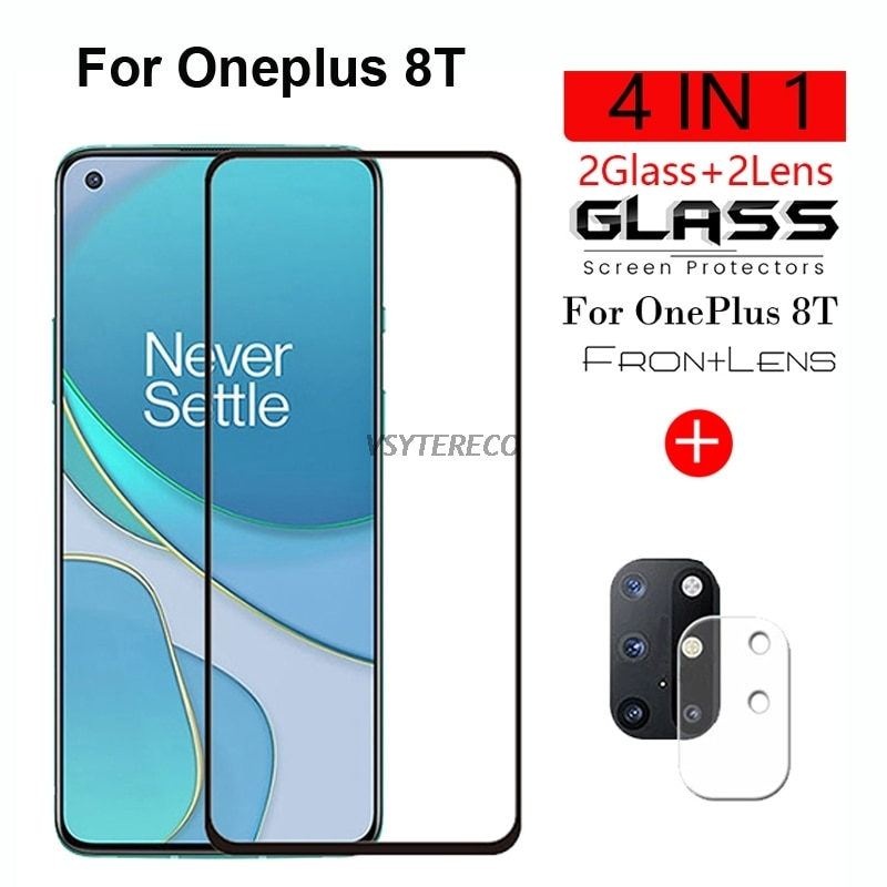 2-1PC Full Cover Tempered Glass For OnePlus 8T Screen Protector For OnePlus 8T Camera Glass On OnePlus 8T One Plus 8T 1+8T Glass
