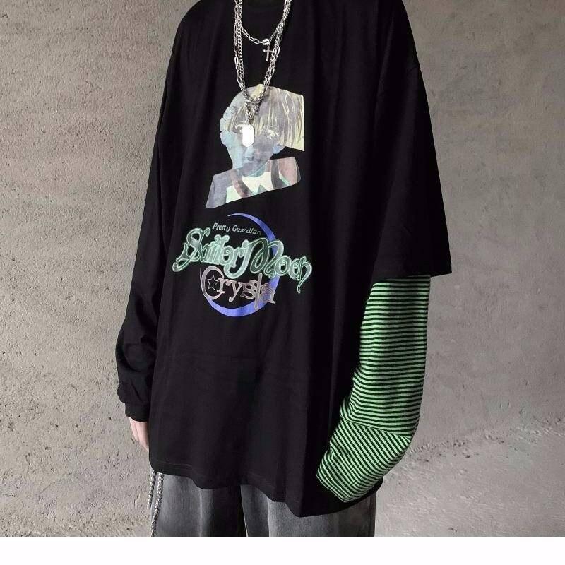 Fashion Punk T-Shirt Men Spring Autumn New Long Sleeve O-Neck T Shirt Men Black Clothing Fashion Patchwork Hip Hop Tee Tops Male