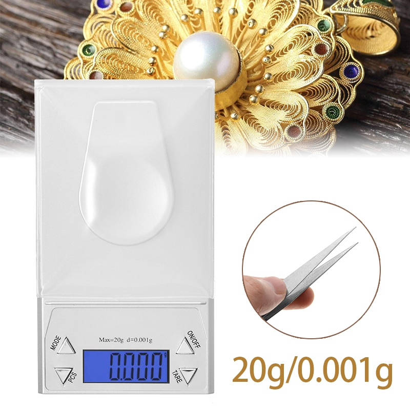 Minibáscula de pesaje de 20g/g 0.001, joyería Digital de precisión Milligram, báscula de cocina con diamantes para hornear té