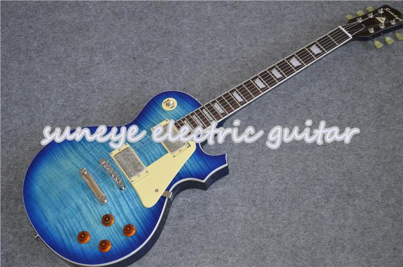 Guitarra eléctrica estándar Suneye, Tiger Flame, acabado brillante, Guitarra eléctrica para zurdos,...