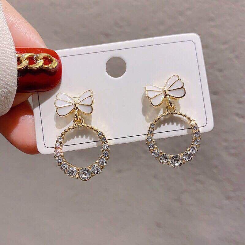 Xiyanike bonito bowknot brincos círculo strass lindo simples moda brincos para as mulheres brincos de gota 2020 jóias