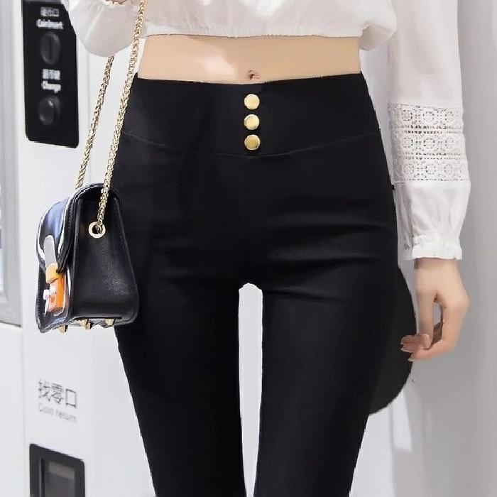 2021 Causal Pants Women Summer Autumn Korean Style Bottoming Trousers Women's Outer Wear Black