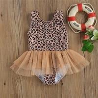 kids girls swimsuits leopard print u neck sleeveless swimwear for summer 6 months 4 years