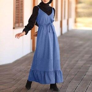 ZANZEA Women Sleeveless Belt Sundress Casual A Line Suspender Dress Ruffles Long Abaya Hijab Dress Vestido Islamic Clothing 5XL
