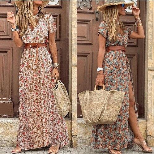 Womens Long Dress Summer V Neck Boho Short Sleeve Paisley Print Belt Maxi Dress Sexy Party Dresses Ladies Beach Holiday Sundress