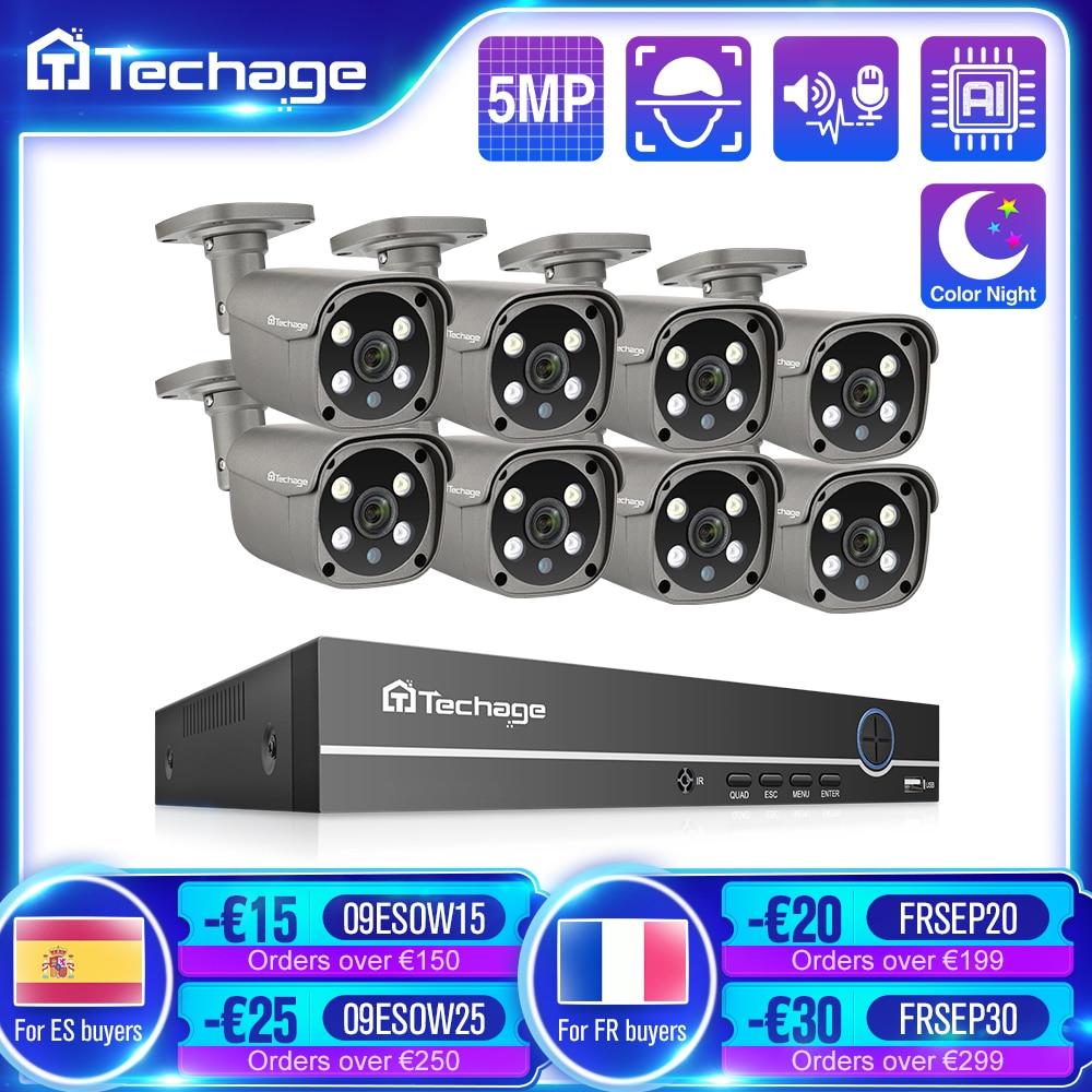 Techage الأمن نظام الكاميرا 8CH 5MP HD POE طقم NVR CCTV اتجاهين الصوت AI الوجه كشف في الهواء الطلق كاميرا مراقبة بالفيديو IP مجموعة