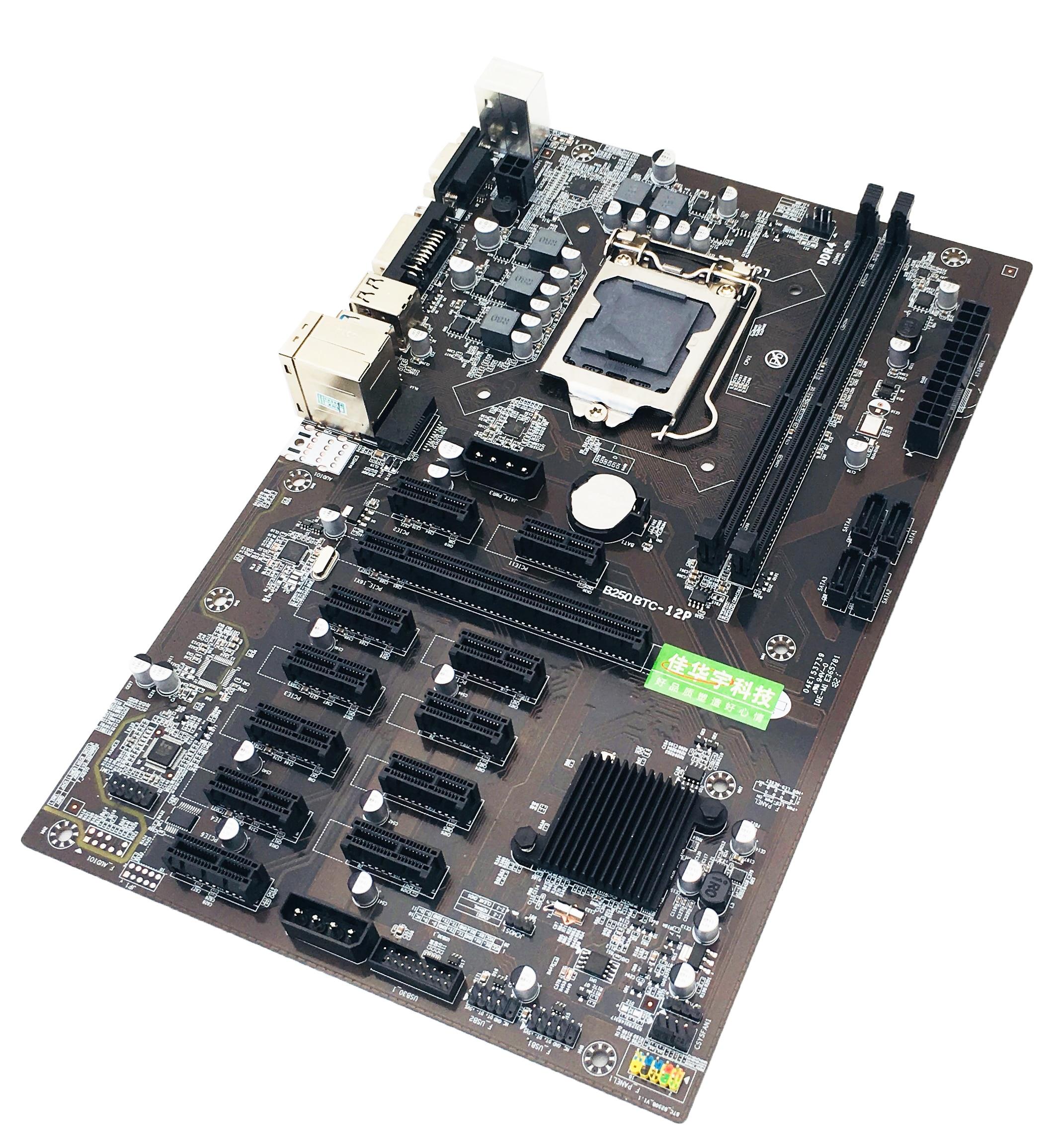 New B250 BTC  Mining Machine Motherboard 12 16X Graph Card SODIMM DDR4  SATA3.0 Support VGA Compatible A08 21 Dropship