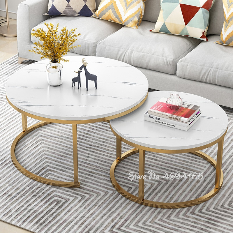 2pcs NEW Living Room White Coffee Tables Marble Texture Combination Furniture Round Durable Table Basse