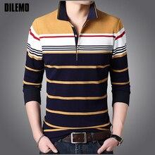 Üst sınıf 2020 yeni moda marka giyim Polo gömlekler erkek çizgili Slim Fit uzun kollu standı yaka kore rahat erkek giyim