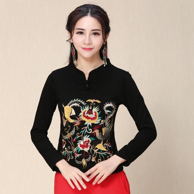 KYQIAO, tienda en línea, China, blusa original para mujer, ropa femenina, de talla grande, cuello mandarín, camisa negra bordada