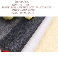 5 10mlot30g40g60g white black single side adhesive non woven cloth paper iron on interlining fabricpatchwork accessories2176