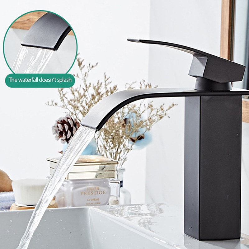 flg basin faucet for bathroom ceramic faucet cartridges automatic infrared sensor chrome cast cold hot bathroom sink faucet 8901 Hot Cold Basin Faucet Waterfall Bathroom Vanity Sink Faucet Single Lever Chrome Brass Hot And Cold Basin Washing Taps