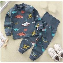 Children Pajamas Clothing Sets High Waist Girls Boys Nightwear Cute Cartoon Long Sleeve Top+Pant Chi