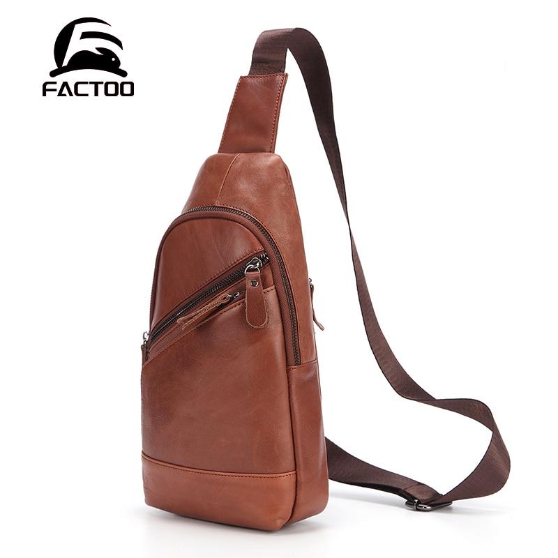 FACTOO New Men's Fashion Shoulder Bag Leather Messenger Bag Sports Outdoor Leisure   Messenger Bag Retro Zipper Chest Bag