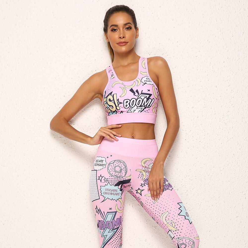 Женский спортивный костюм с принтом банана для бега и йоги, спортивная одежда с высокой талией, штаны для фитнеса, спортивный комплект Харад...