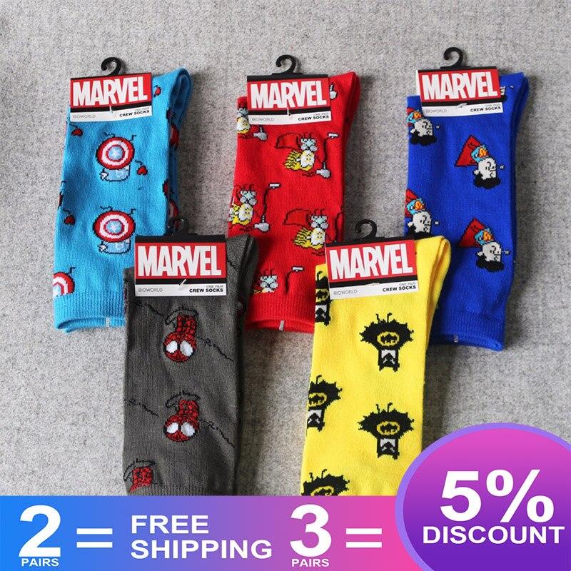 Мужские носки герой комиксов Marvel носки с героями мультфильмов Железный человек Капитан Америка Косплей Гольфы Человек-паук Тор Халк Повседневные носки