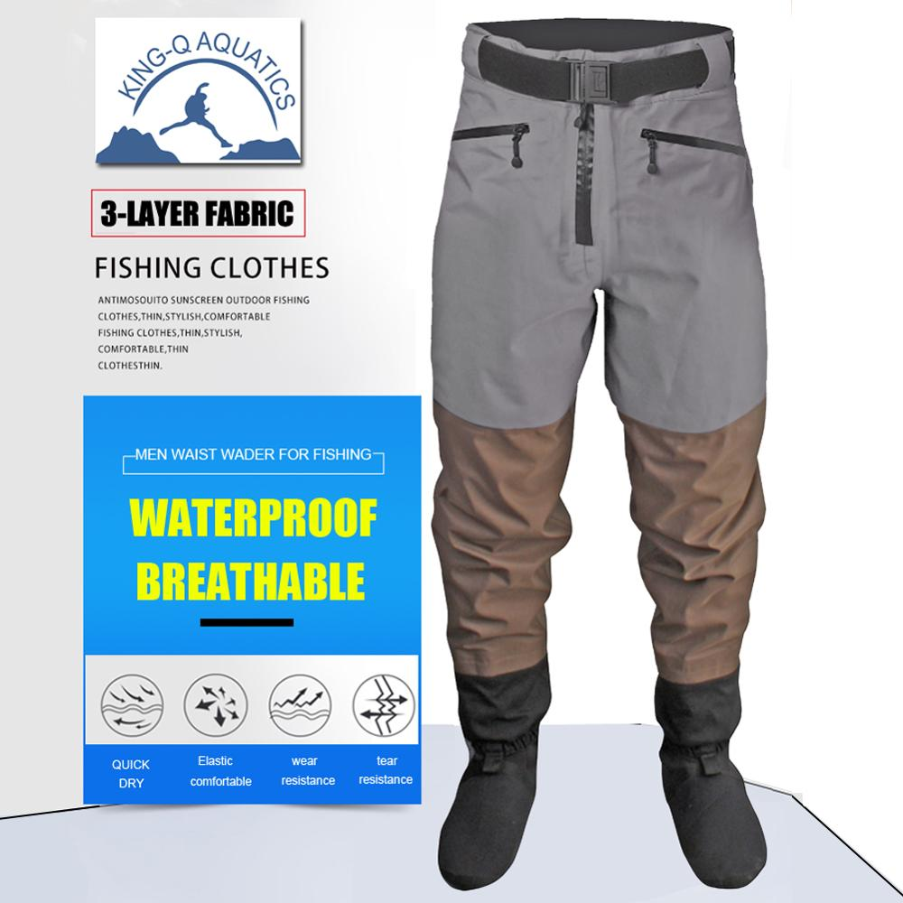 Men Breathable Stockingfoot Waterproof Waist High Pant Wader for Fishing Hunting Trousers enlarge