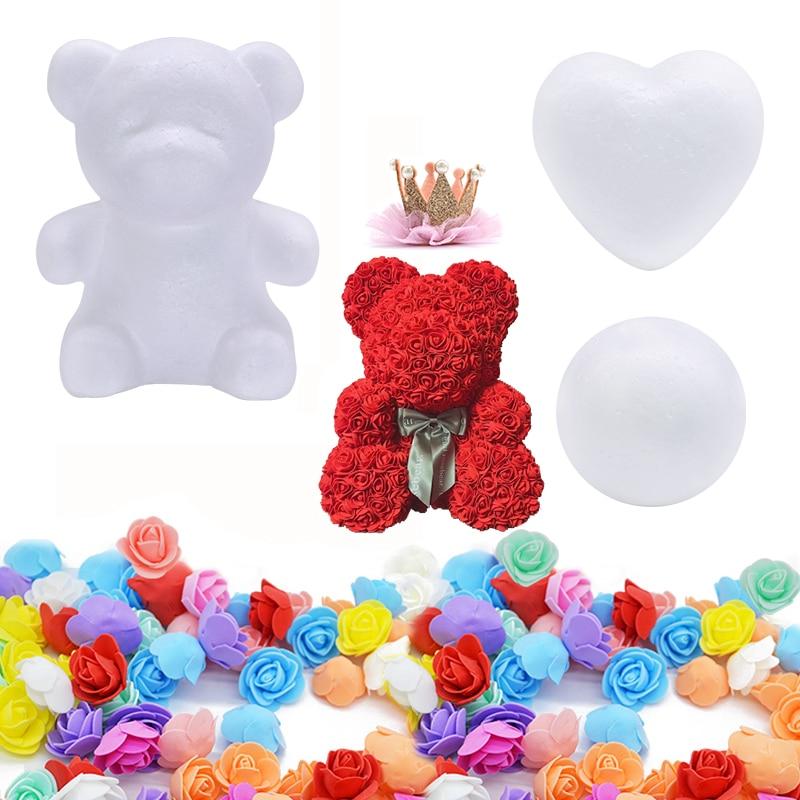 Molde de oso rosa de espuma DIY oso de peluche rosa Artificial para el Día de San Valentín Navidad boda cumpleaños regalo corazón bola adornos