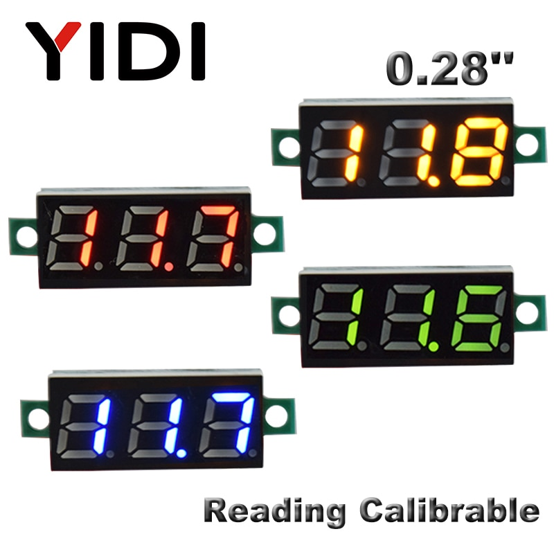 0,28 pulgadas DC 0-100V LED voltímetro Digital DC2.5-30V coche motocicleta rojo verde azul LED voltaje de lectura Calibrable probador del metro