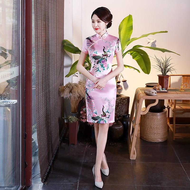 Женское вечернее короткое платье Ципао с высоким разрезом, китайское традиционное платье размера плюс с цветочным принтом, розовое платье ...