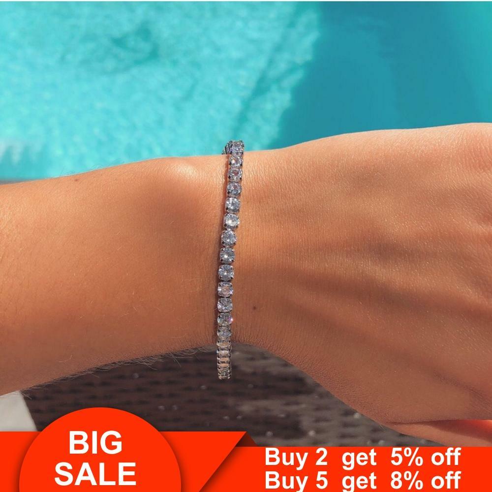 Sólida plata 925 de moda 4mm CZ pulsera de tenis brazalete para Mujeres Hombres boda joyería de moda al por mayor pulseras de fiesta