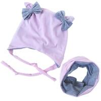 2pcsset butterfly cotton hat scarf set for kids winter autumn children caps double layer warm neckerchief