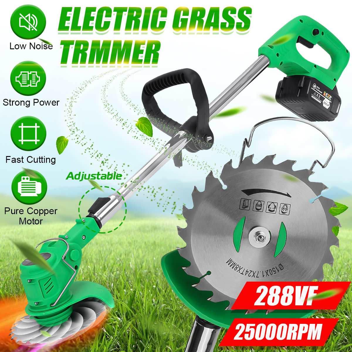 جديد 288VF الكهربائية العشب المتقلب مع 1/2 بطاريات اللاسلكي جزازة العشب طول قابل للتعديل حديقة تشذيب أدوات تقطيع