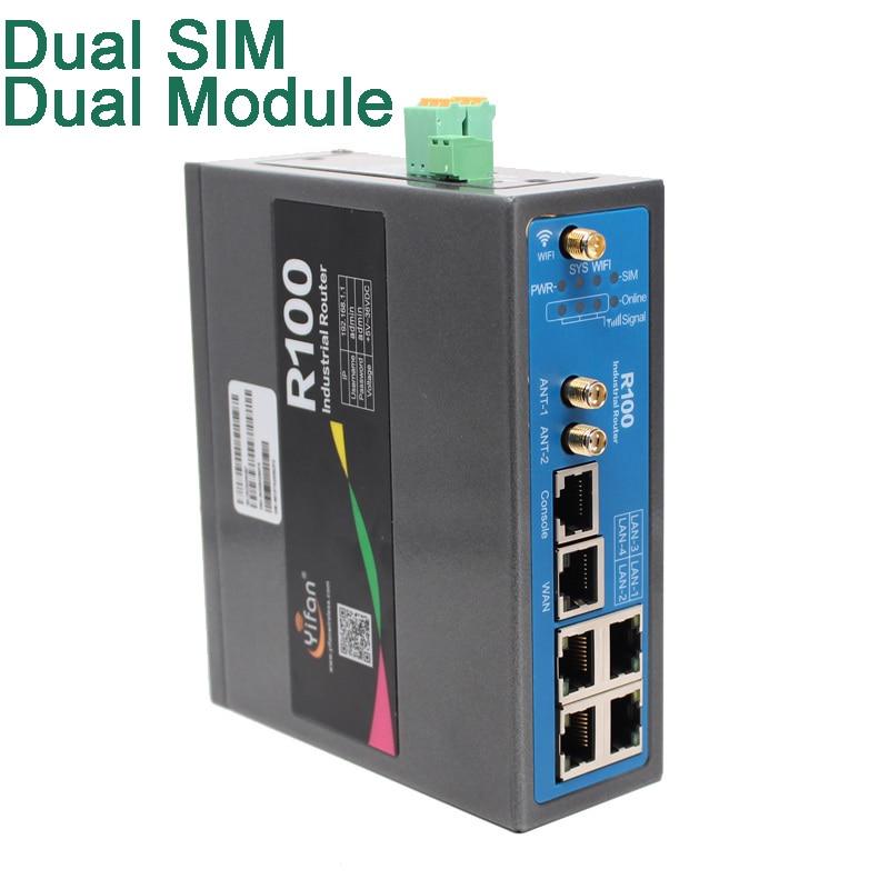 جهاز توجيه wifi الصناعي 4G VPN مع فتحة بطاقة sim ، جهاز مزدوج لتوازن التحميل