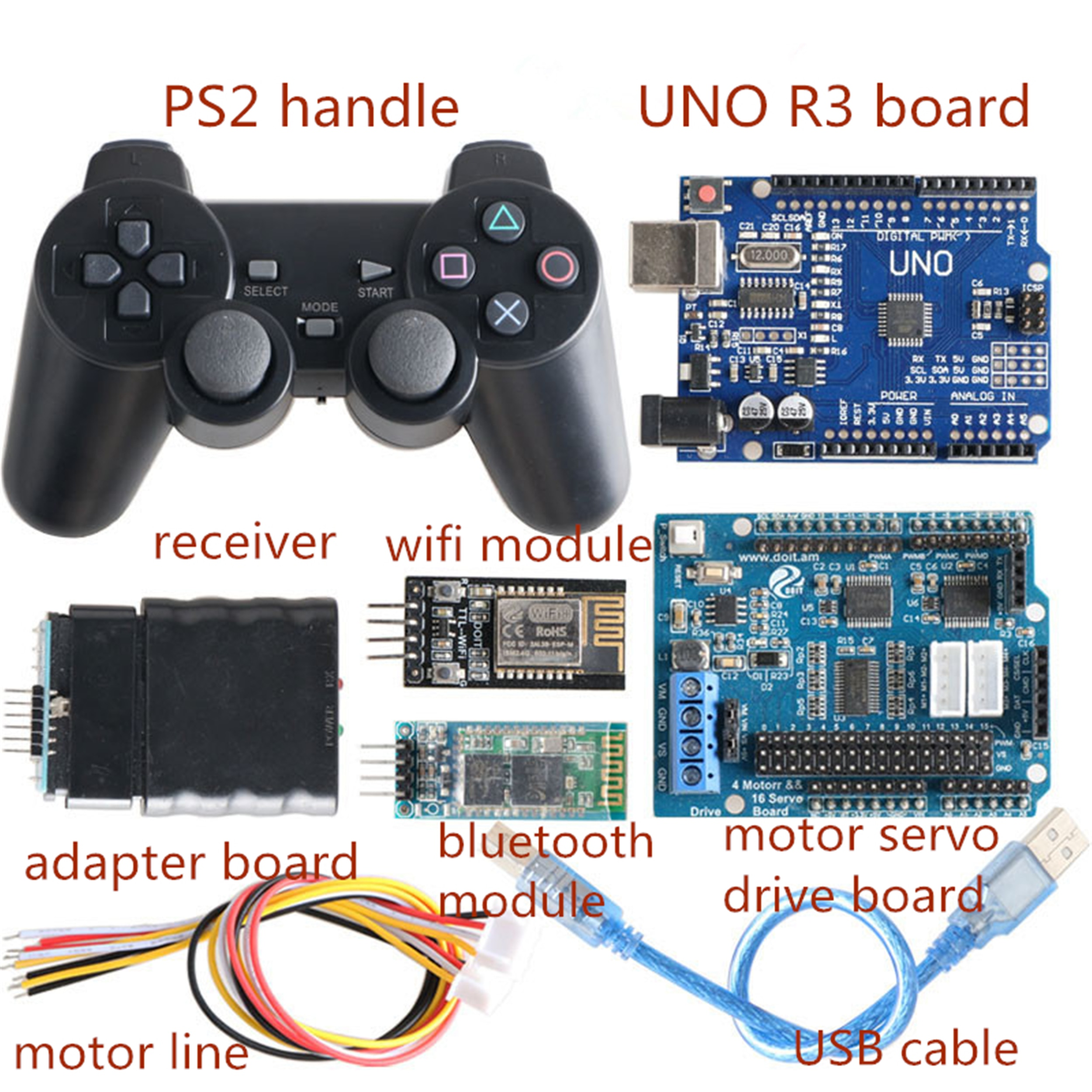 Wireless Controller Kit For RC Robot Arm/Chassis Part 4-Way Motor & 16-Way Servo Drive Motor Free