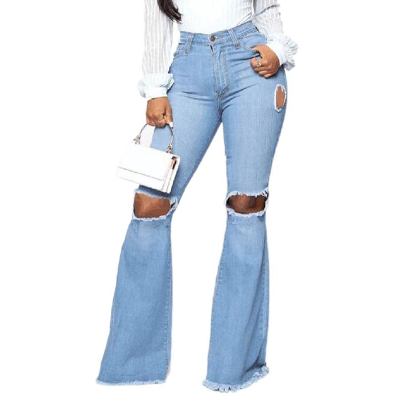 Рваные женские джинсы с завышенной талией, свободные джинсовые брюки, повседневные длинные брюки-бойфренды с дырками, новые женские раскле...