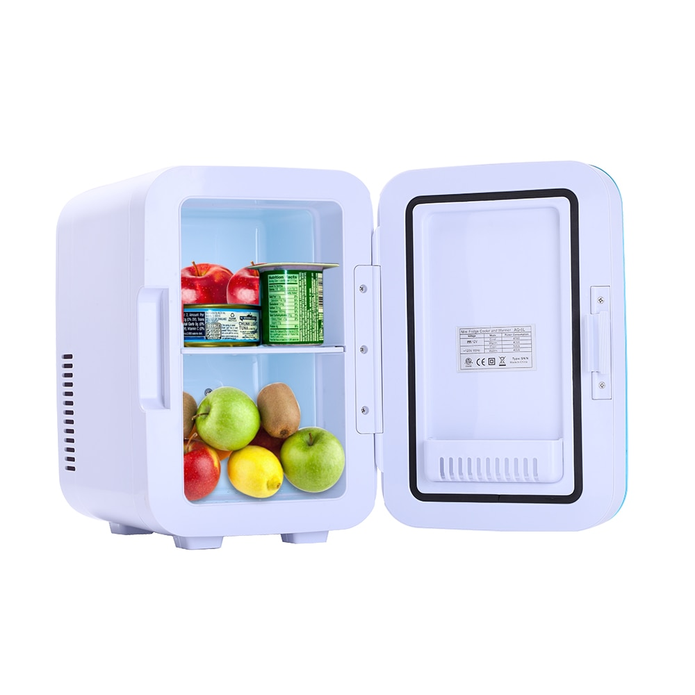 Mini geladeira portátil para casa e carro, 6l, 12v, 120v, com refrigerador, área externa, entrada pinic, aquecedor, para escritório