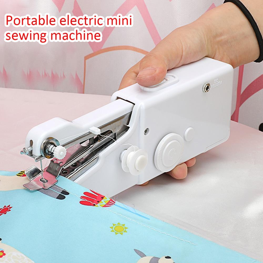 Mini máquina de coser portátil de mano, juego de máquinas de coser, costura eléctrica, costura de ropa inalámbrica, máquina de coser eléctrica