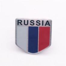 Bouclier en alliage daluminium 5x5cm   Autocollants demblème de drapeau National de la fédération de russie, de portes de voiture, décor de drapeaux russes