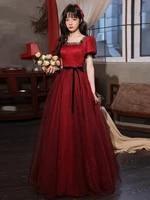 retro wine red tulle formal evening gowns lace square collar puff sleeve a line long dress vestido de fiesta de boda