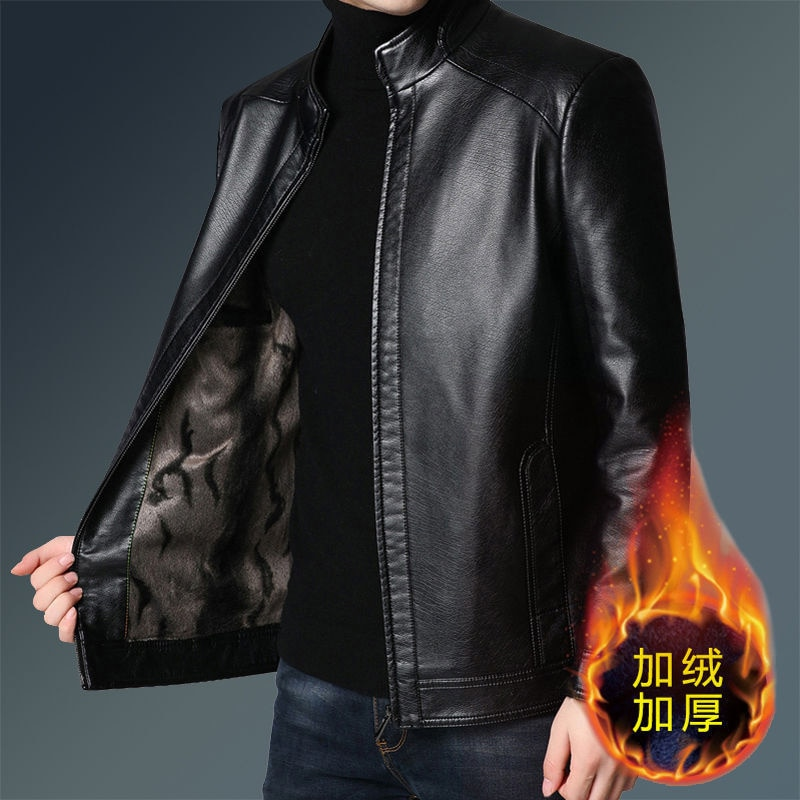 New leather men's coat middle-aged and elderly fur middle-aged PU leather winter Plush thickened leather jacket men's suit