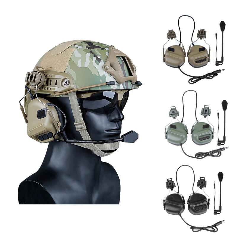 أحدث سماعات الرأس التكتيكية مع سريع خوذة السكك الحديدية محول العسكرية الادسنس CS اطلاق النار سماعة الجيش الاتصالات الملحقات
