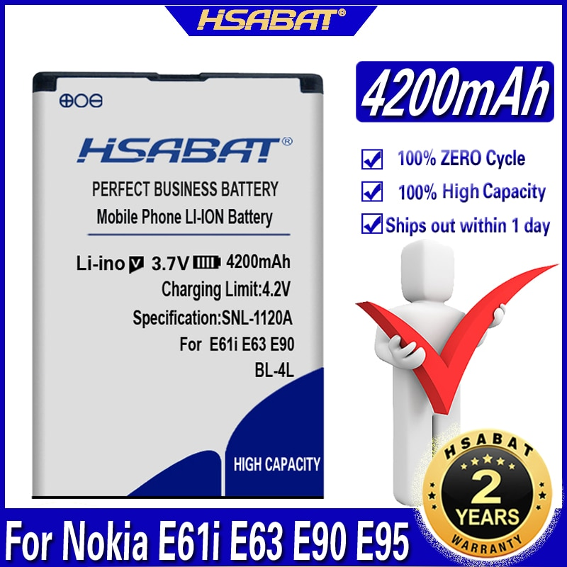 HSABAT 4200 мАч BP-4L BP4L BP 4L батарея для Nokia E61i E63 E90 E95 E72 E52 E71 6650F N810 N97 высокое качество