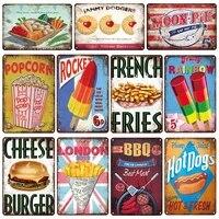 Plaque retro en etain  signe de nourriture pop-corn BBQ Hot Dogs  affiche dart Vintage  cafe cuisine Bar Pub  panneau  decor mural doux pour la maison
