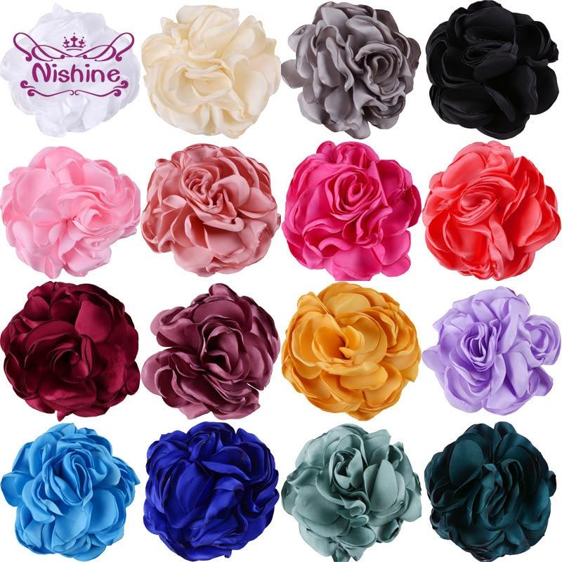 Nishine 5pcs/lot Artificial Rose Flowers Handmade Rosette Burning for Diy Kids Girls Hair Accessory Party Decoration