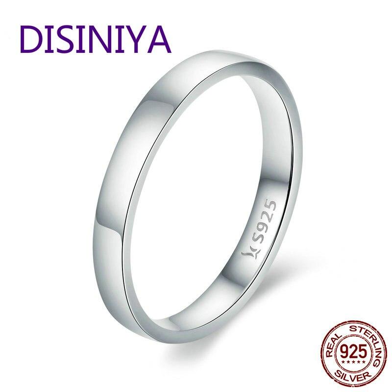 Disiniya alta qualidade 925 prata esterlina anel de casamento anel de dedo feminino clássico redondo presente de jóias de casamento scr343 compromisso