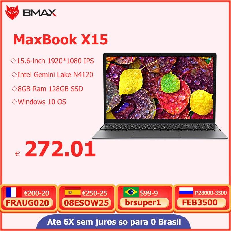 BMAX X15 Laptop Intel Gemini Lake N4120 15.6 inch Intel UHD Graphics 600 8GB LPDDR4 RAM 128GB SSD windows10 Notebook