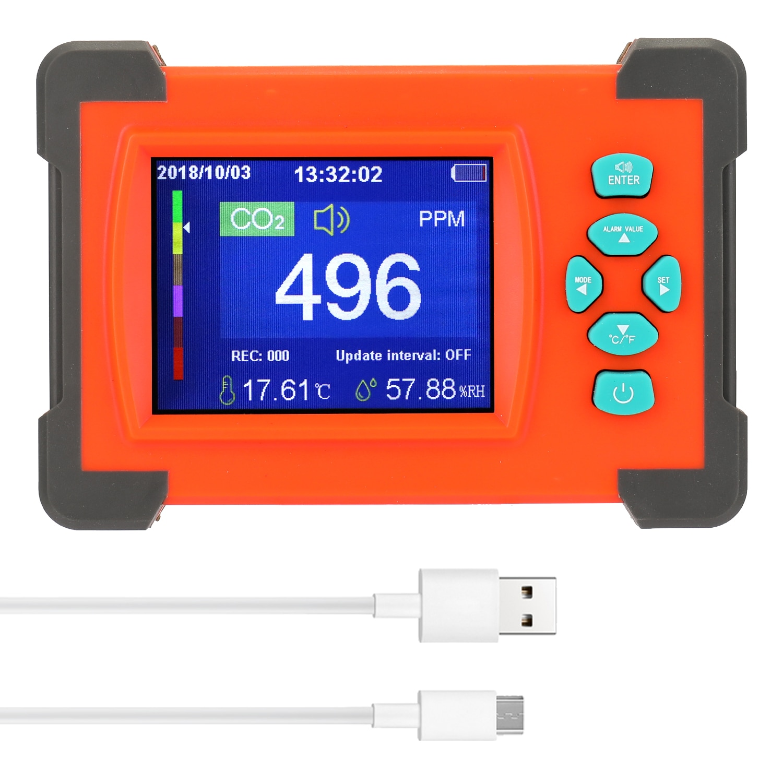 Medidor de co2 portátil detector de dióxido carbono útil medidor co2 monitor qualidade do ar com caso armazenamento sensor co2 detector