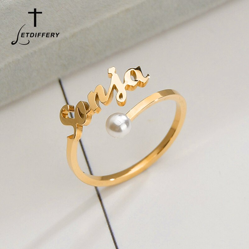 Anillo de nombre de perla de imitación personalizado Letdiffery, anillos de boda de acero inoxidable personalizados para mujeres, regalos únicos de compromiso para amantes