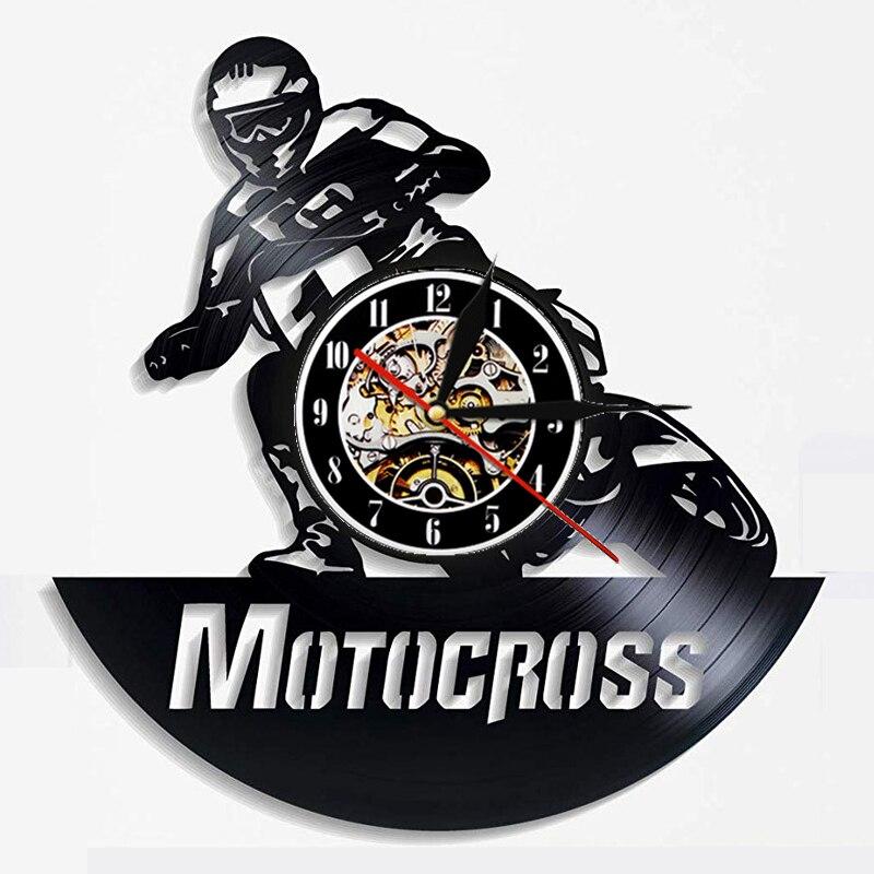 Reloj de pared de vinilo de Motocross Reloj de pared de diseño moderno motocicleta Racing 3D decoración colgante Reloj de pared de vinilo decoración del hogar