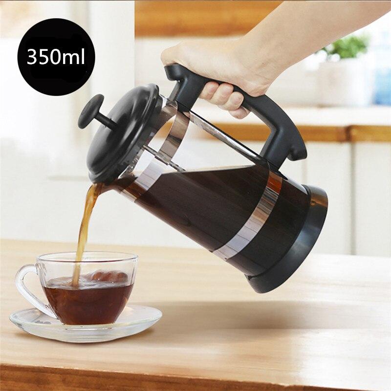 Imprensa francesa pote de café/chá cervejeiro portátil cafeteira casa 350ml garrafa térmica vidro aço inoxidável chaleira