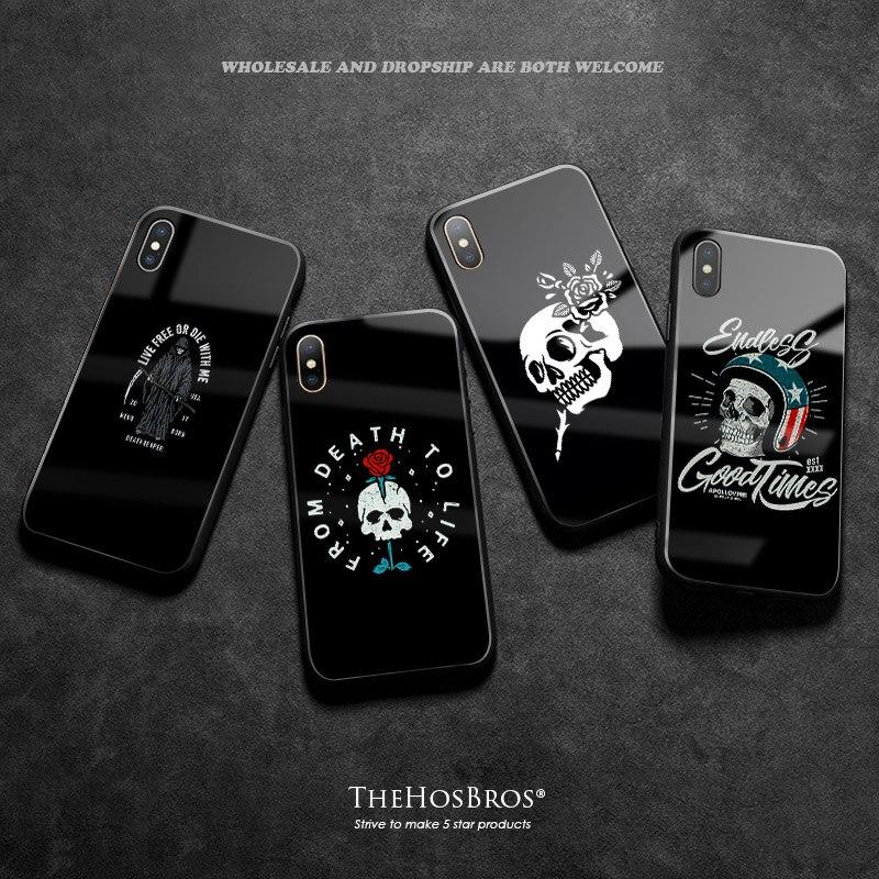Funda de teléfono de silicona negra, estética, Calavera oscura, de lujo, coque Glass, suave, 5s para iPhone, Se, 6, 6s, 7, 8 Plus, X, XR, XS, 11 Pro MAX