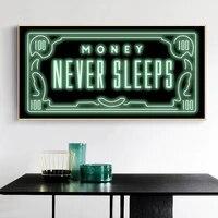 Peinture sur toile HD avec inscription  Money Never Sleep   citations et imprimes nordiques  tableau dart mural  decoration de la maison