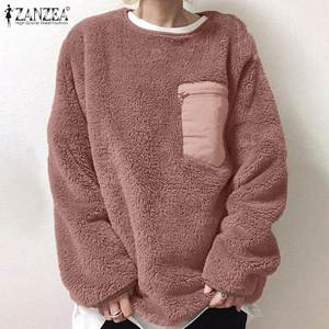 Fashion Fluffy Hoodies Women's Patchwork Sweatshirts 2021 ZANZEA Casual Long Sleeve Pullovers Female O Neck Tops Plus Size Tunic