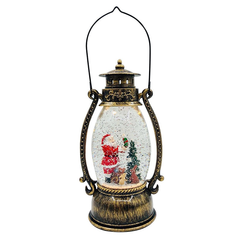 Santa Claus Lantern Night Light Crystal Wind Light Retro Portable Lantern Small Oil Lamp Resin Craft Water Lamp Desktop Decor enlarge