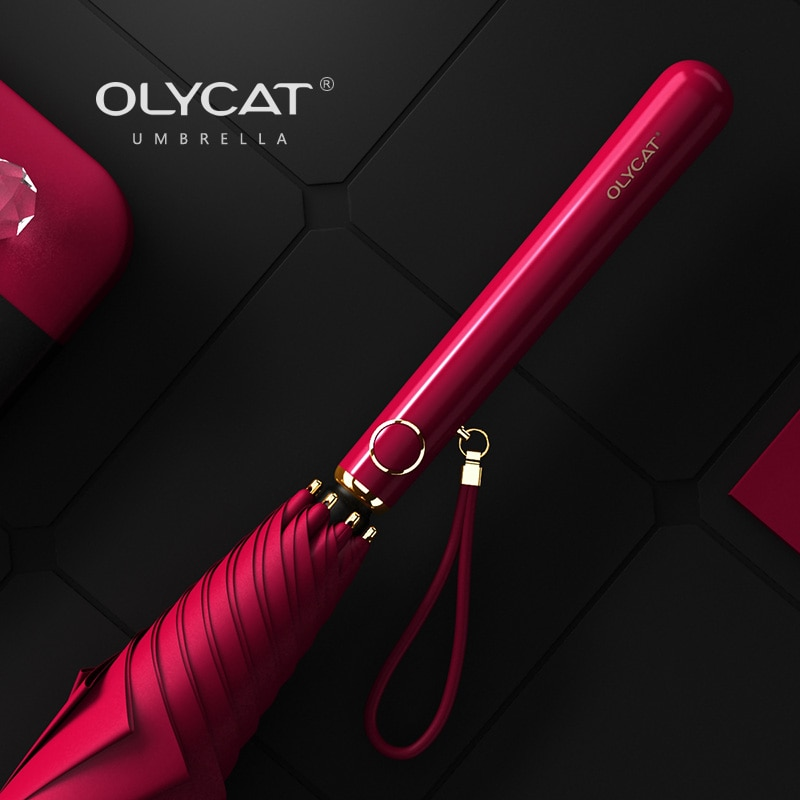 Olycat elegante feminino guarda-chuva anti uv longo guarda-chuva chuva feminino golfe ao ar livre guarda-sol meninas à prova de vento praia guarda-sol